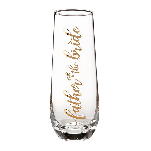 Lillian Rose Father of Bride Stemless Champagne Glass and Wedding Toasting Glass