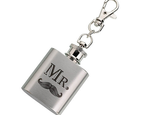 "This mini flask is a memorable gift designed especially for the groom. The ""Mr."""