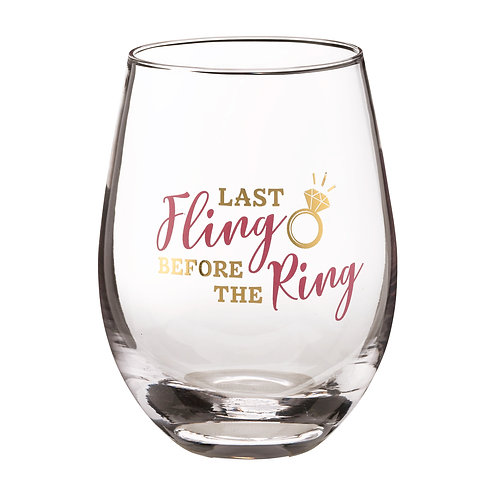 "Lillian Rose ""Last Fling Before the Ring"" Stemless Wine Glass"