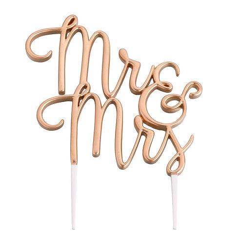 Lillian Rose Gold Mr. and Mrs. Wedding Cake Topper