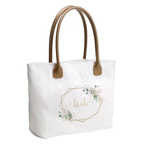 Lillian Rose Botanical Watercolor and Gold Geometric Bride Wedding Tote Bag