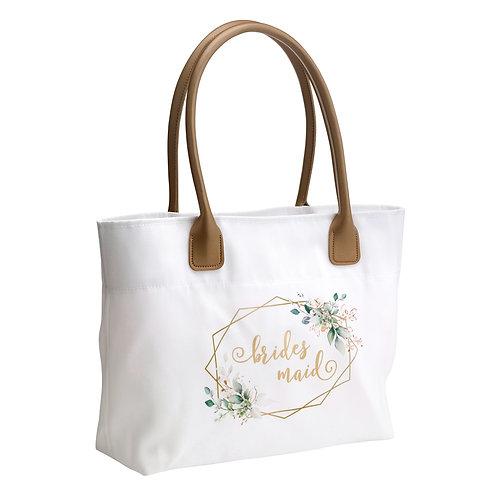 Lillian Rose Botanical Watercolor and Gold Geometric Bridesmaid Wedding Tote Bag