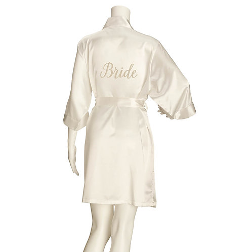 Lillian Rose Ivory Satin Bride Robe