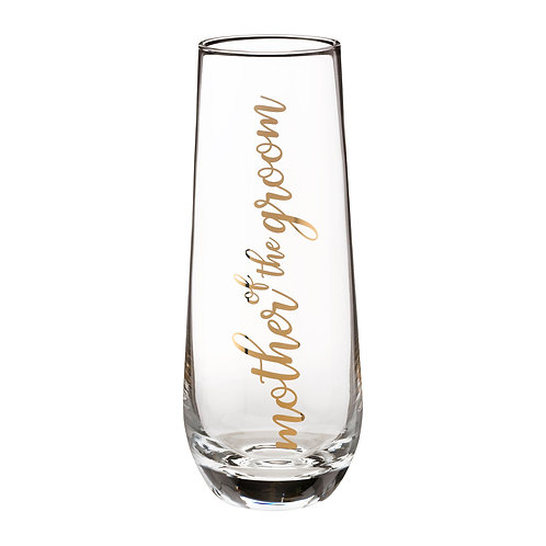 Lillian Rose Mother of Groom Stemless Champagne Glass and Wedding Toasting Glass