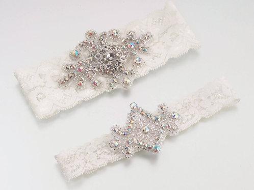 Lillian Rose Elegant Jeweled Ivory Lace Garter Set