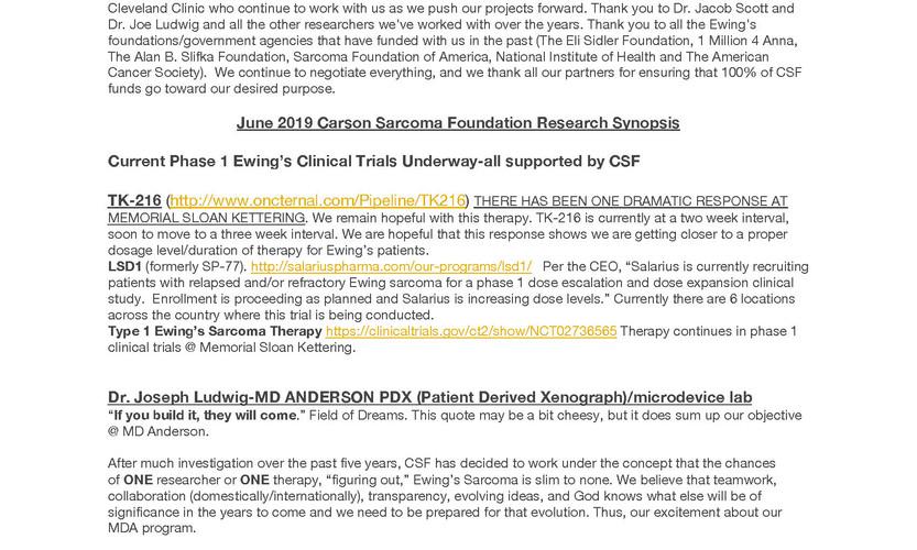 Carson Sarcoma Foundation 2019 update_Pa