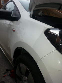 VW Up wing Dent after PDR
