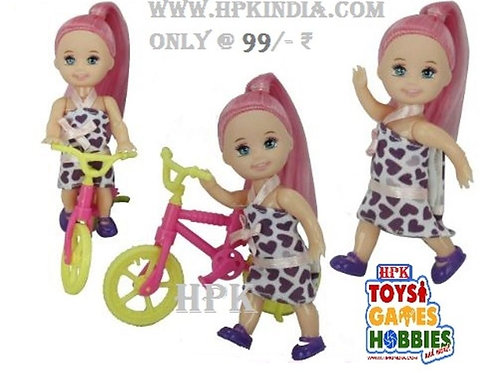 HPK mini playing baby doll with Bicycle Moveable Motion body,