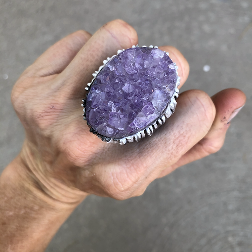SIZE 9 ~ AMETHYST CLUSTER RING