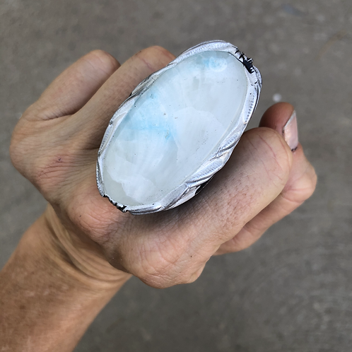 SIZE 8 ~BLUE SCOLECITE RING