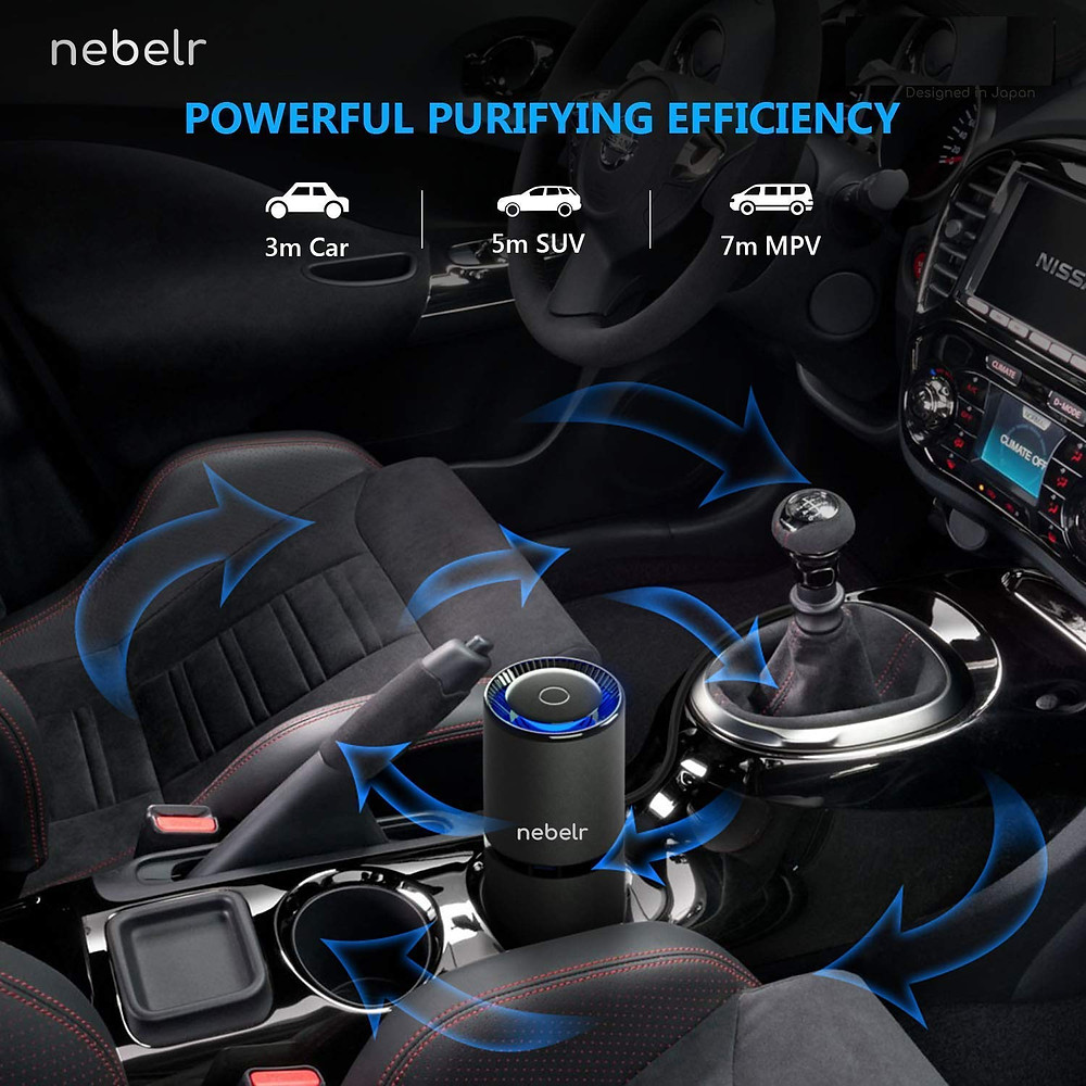 Nebelr Car Air Purifier Ionizer - Removes PM2.5, Smoke, Dust and Bad Odour, No Need Filter, Portable Negative Ion Generator - Designed in Japan