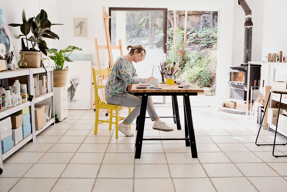 Maria Harding working in her studio