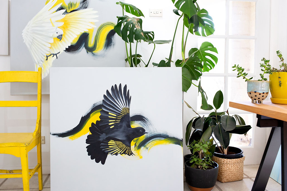 New flying bird paintings in Maria Harding's artist studio