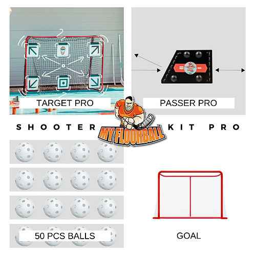 SHOOTER KIT PRO: GOAL+PASSER PRO + TARGET PRO+50xBALLS