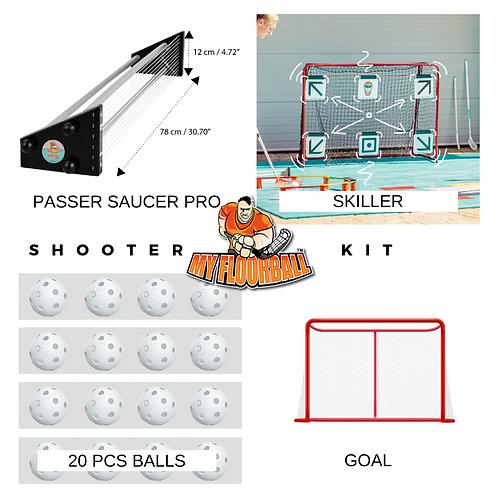 SHOOTER KIT: PASSER SAUCER PRO+GOAL+TARGET PRO + 20 BALLS
