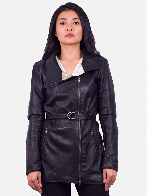 Leather Jacket Sally Long Zip and Gold