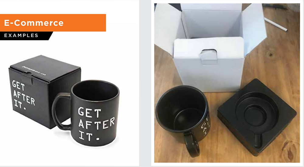 Oversized mugs broken with initial efficient and compact packaging. Revised to survive even the most aggressive Amazon courier delivery, custom inserts by Pearl Resourcing resulted in 100% safe delivery.