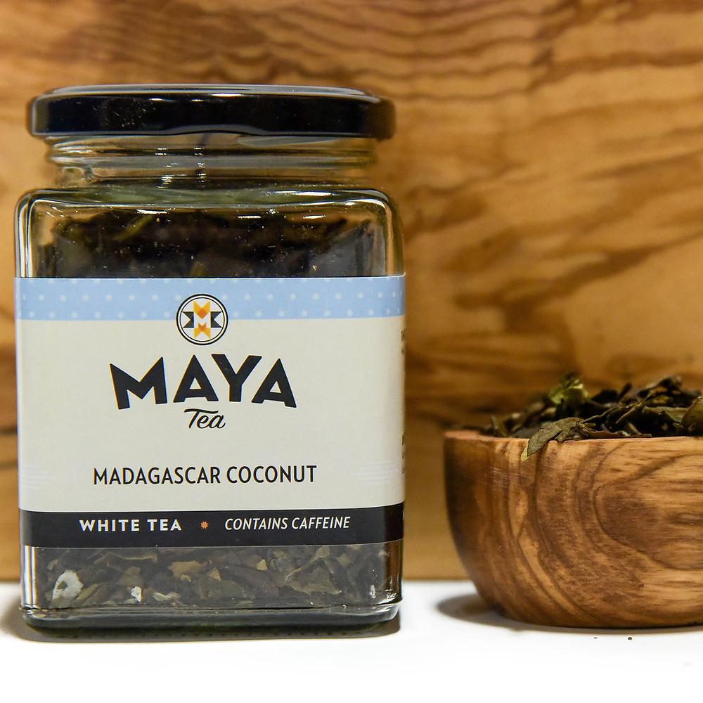 Luxury glass packaging shows off Maya Tea's beautiful loose leaf tea.