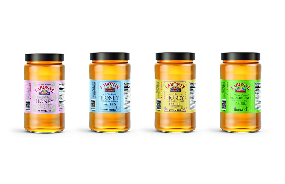 The latest giftable honey packaging artwork for Meil Labonte is light and sweet... just like the honey inside the jar!