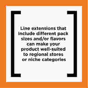 Line extensions that include different pack sizes and/or flavors can make your product well-suited to regional stores or niche categories