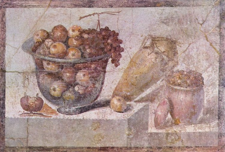 'Still Life with Glass Bowl of Fruit and Vases' (63-79 AD) (Photo: The Yorck Project via Wikimedia Commons Public Domain)