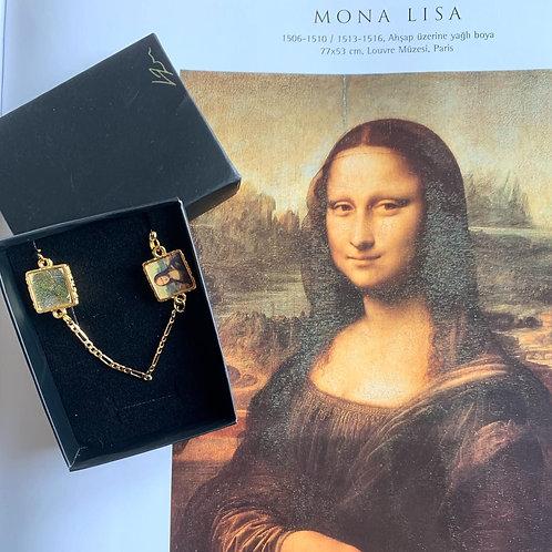 Parmak izli Mona Lisa Gümüş Kolye