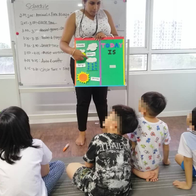 Kids learn about climate during a Social Learning Group (SLG) class.