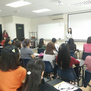 An ex-staff member presents a Career Day talk for the Special Needs Education faculty students at DIKA College.