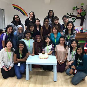 """""""Cake is the answer, no matter what the question is."""" A little get-together after wrapping up a Child Safety workshop at our centre, facilitated by Protect & Save the Children. Photo taken in 2016."""