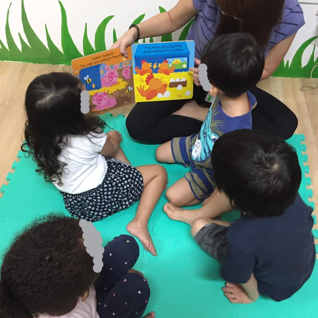 Our kids having a splendid storytelling session - good job, everyone!