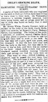 Bishop's Sutton, death of a child 1906