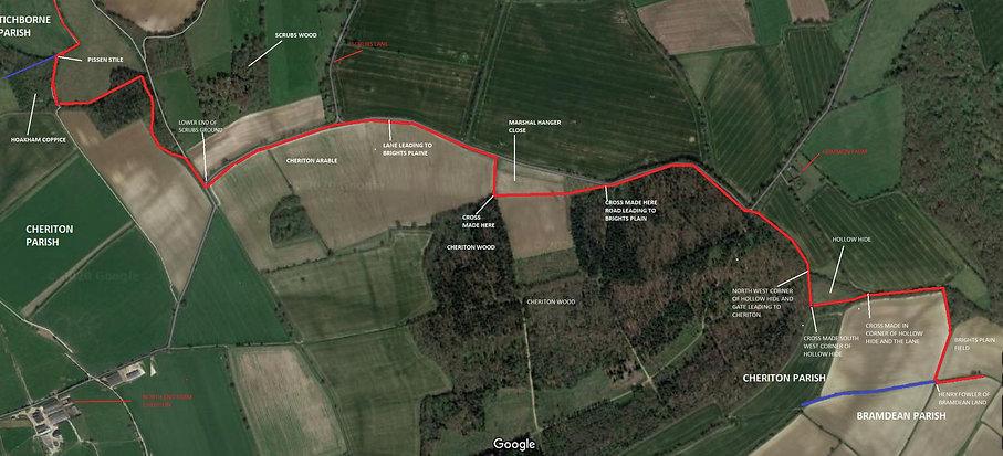 Perambulation of the Bishop's Sutton Parish Boundary 1745 section 3