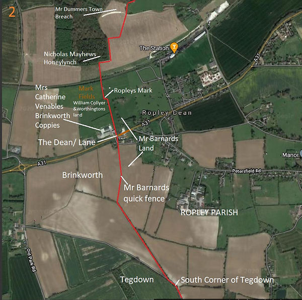 Perambulation of the Bishop's Sutton Parish Boundary 1745 section 5a -2
