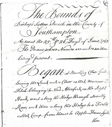 The Perambulation of the Bishop's Sutton Boundary, 1745. From the original manuscript