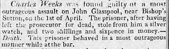 Bishop's Sutton, Attempted murder and Robbery 1816