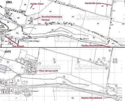 Bishop's Sutton, Hobbs Close area maps 1881, 1975