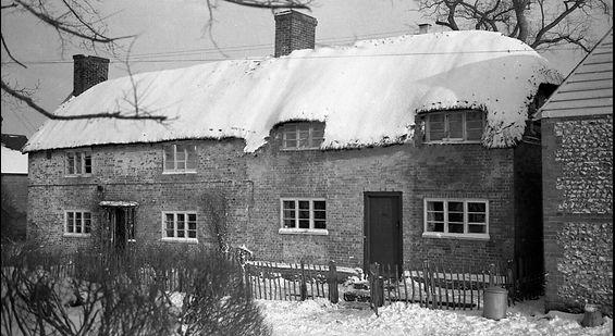 Bishop's Sutton, Church Lane Cottages winter 1948