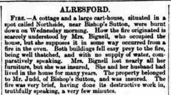 Bishop's Sutton, Fire at Northside ( Farm) 1871 newspaper report