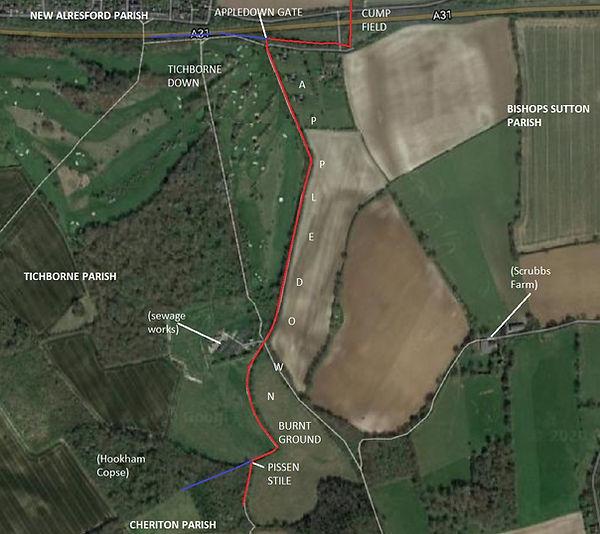 Perambulation of the Bishop's Sutton Parish Boundary 1745 section 2