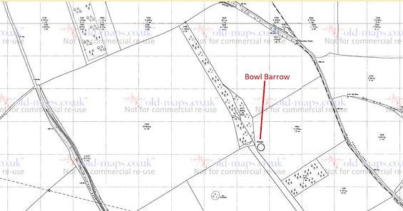 Bishop's Sutton,   Bronze age Bowl Barrow, Map 1975