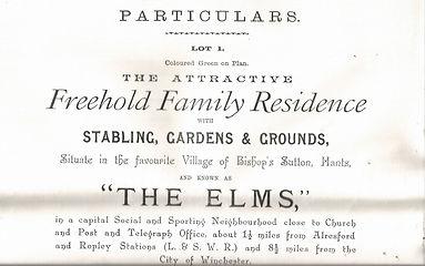 Bishgop's Sutton, The Elms Auction Catalogue 1903