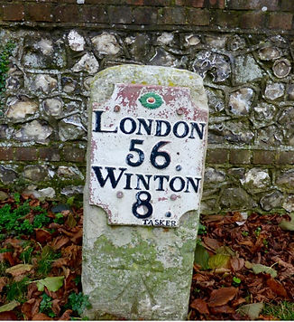 Bishop's Sutton, The Turnpike Milestone on the Main Road