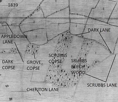 Bishop's Sutton, Dark Lane 1839 tithe map