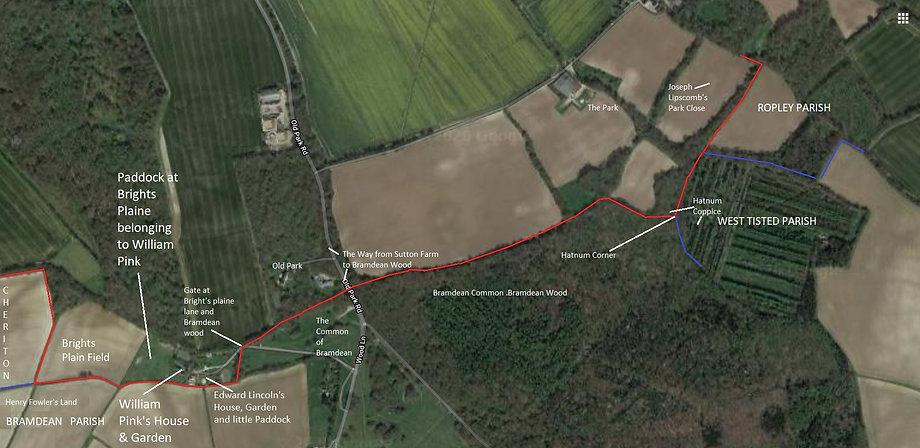 Perambulation of the Bishop's Sutton Parish Boundary 1745 section 4