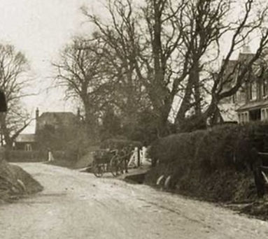 Bishop's Sutton, Cobbs Cottage extracted from a picture of 1908 looking east from the Plough P.H.