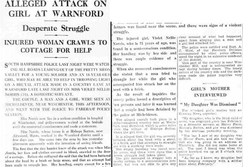 Bishop's Sutton, girl attacked May 1939