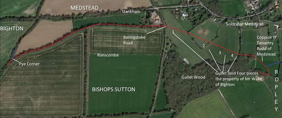 Perambulation of the Bishop's Sutton Parish Boundary 1745 section 6