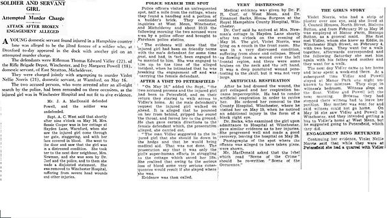 Bishop's Sutton girl attacked May 1939
