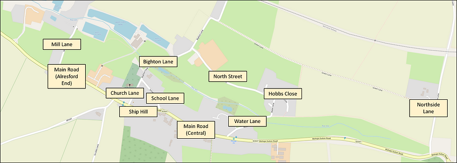 Bishop's Sutton, map of roads covered