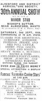 Bishop's Sutton, Advertisement for Alresford Show 1950